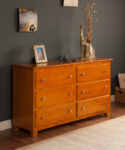 Atlantic 6 Drawer Dresser in a Caramel Latte