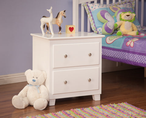 Atlantic 2 Drawer Nightstand in White
