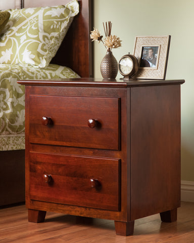 Atlantic 2 Drawer Nightstand in an Antique Walnut