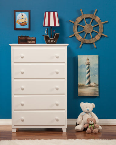 Atlantic 5 Drawer Chest in White
