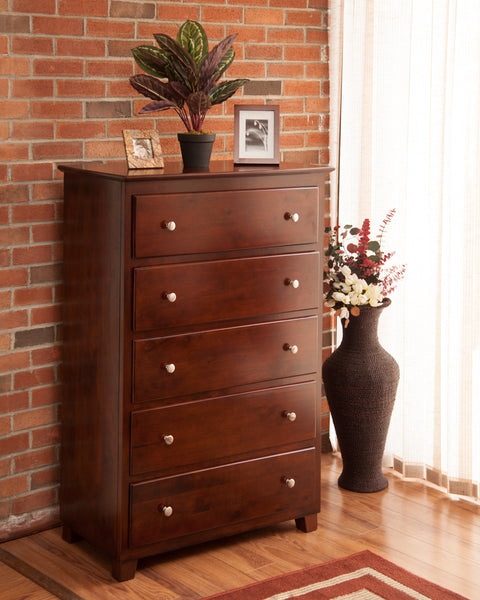 Atlantic 5 Drawer Chest in an Antique Walnut