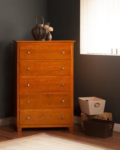 Atlantic 5 Drawer Chest in a Caramel Latte