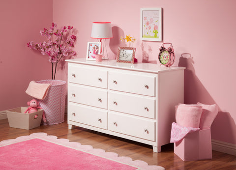 Atlantic 6 Drawer Dresser in White