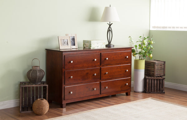 Atlantic 6 Drawer Dresser in Antique Walnut