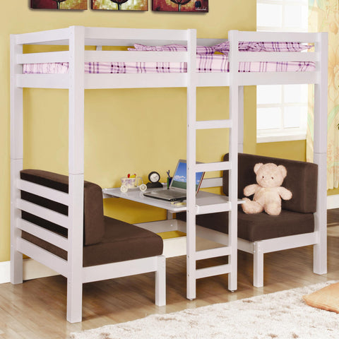 Coaster Twin Over Twin Convertible Loft Bed in White