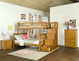 Columbia Twin over Full Stairway Bunk Bed in Caramel Latte