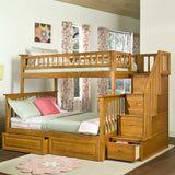 Columbia Twin over Full Stairway Bunk Bed in Caramel Latte w/ Storage Drawers