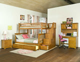 Columbia Twin over Full Stairway Bunk Bed in Caramel Latte w/ Trundle