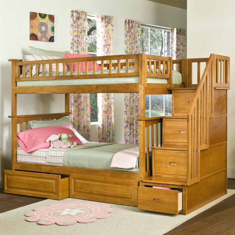 Columbia Twin over Twin Stairway Bunk Bed in Caramel Latte w/ Storage Drawers
