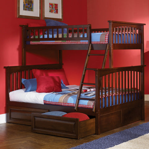 Columbia Twin over Full Bunk Bed in Antique Walnut w/ Storage Drawers