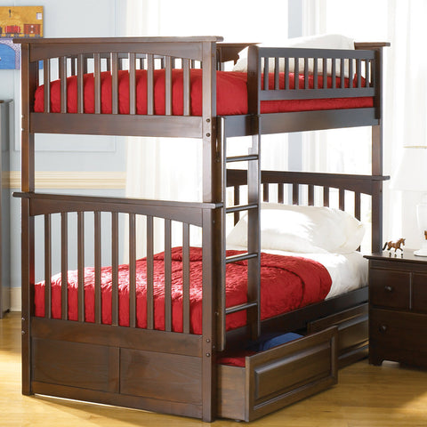 Columbia Twin over Twin Bunk Bed in Antique Walnut w/ Storage Drawers