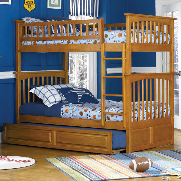 Columbia Twin over Twin Bunk Bed in Caramel Latte w/ Trundle