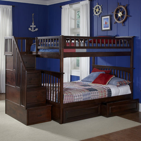 Columbia Full over Full Stairway Bunk Bed in Antique Walnut w/ Storage Drawers