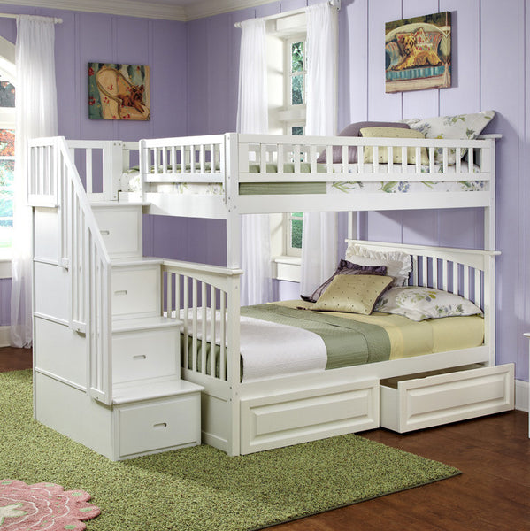 Columbia Full over Full Stairway Bunk Bed in White w/ Storage Drawers