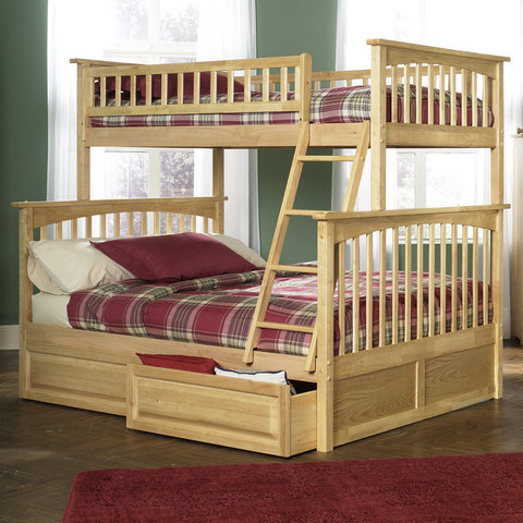 Columbia Twin over Full Bunk Bed in Natural Maple w/ Storage Drawers
