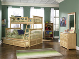 Columbia Twin over Full Bunk Bed in Natural Maple w/ Trundle
