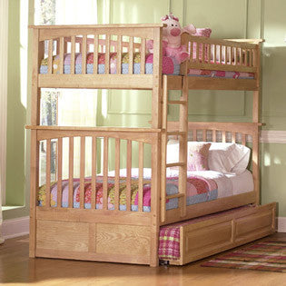 Columbia Twin over Twin Bunk Bed in Natural Maple w/ Trundle