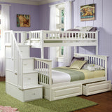 Columbia Twin over Full Stairway Bunk Bed in White w/ Storage Drawers