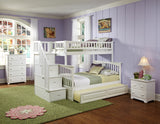 Columbia Twin over Full Stairway Bunk Bed in White w/ Trundle