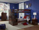 Columbia Twin over Twin Stairway Bunk Bed in Antique Walnut