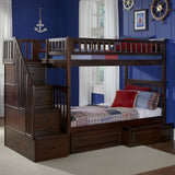 Columbia Twin over Twin Stairway Bunk Bed in Antique Walnut w/ Storage Drawers