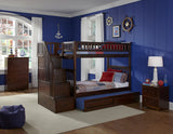 Columbia Twin over Twin Stairway Bunk Bed in Antique Walnut w/ Trundle Bed