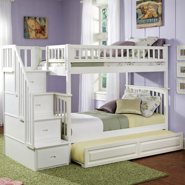 Columbia Twin over Twin Stairway Bunk Bed in White w/ Trundle
