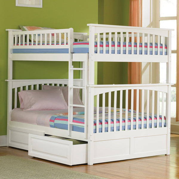 Columbia Full over Full Bunk Bed in White w/ Storage Drawers
