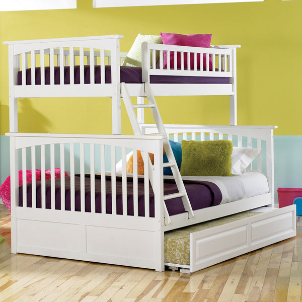 Columbia Twin over Full Bunk Bed in White w/ Trundle