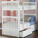 Columbia Twin over Twin Bunk Bed in White w/ Storage Drawers