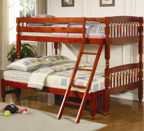 Coral Traditional Twin Over Full Bunk Bed in Cherry