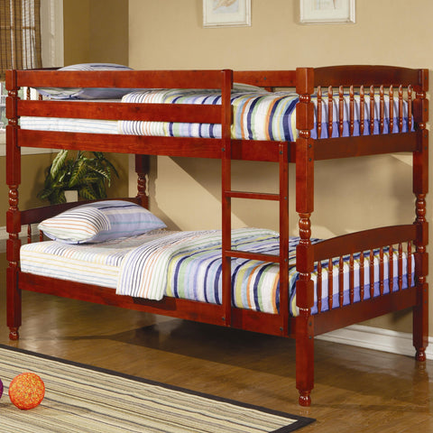 Coral Traditional Twin Over Twin Bunk Bed in Cherry