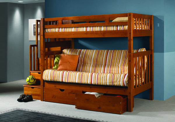 DC Twin Over Twin Futon Tall Mission Stairway Bunk Bed in Honey