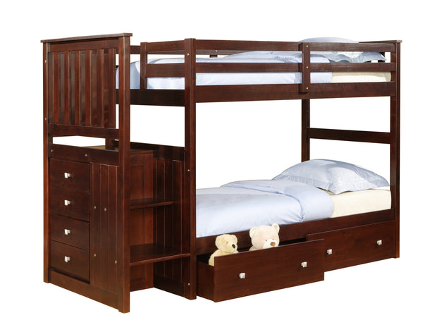 DC Twin Over Twin Mission Stairway Bunk Bed in Cappuccino