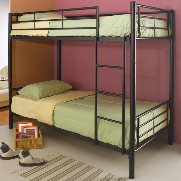 Denley Metal Twin over Twin Bunk Bed in Black