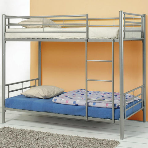 Denley Metal Twin over Twin Bunk Bed in Silver