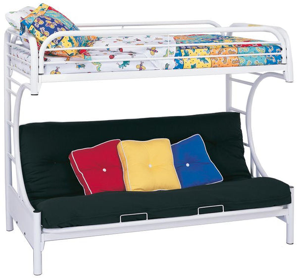 Fordham C Style Twin Over Full Futon Bunk Bed in White