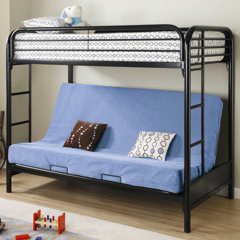 Fordham Twin Over Full Futon Metal Bunk Bed in Black