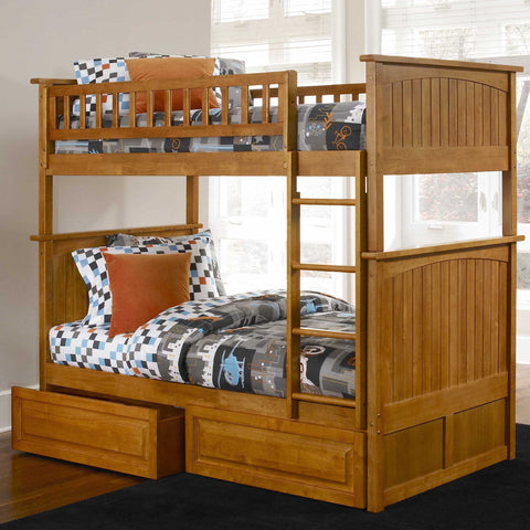 Nantucket Twin over Twin Bunk Bed in Caramel Latte w/ Storage Drawers