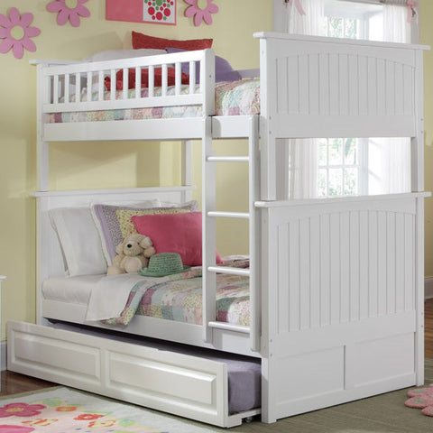 Nantucket Twin over Twin Bunk Bed in White w/ Trundle