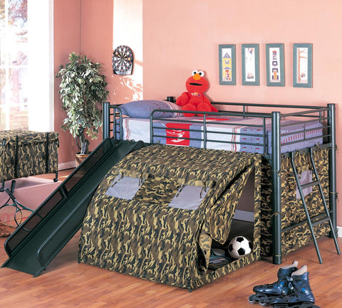 Oates Lofted Bed with Slide and Tent in Camo