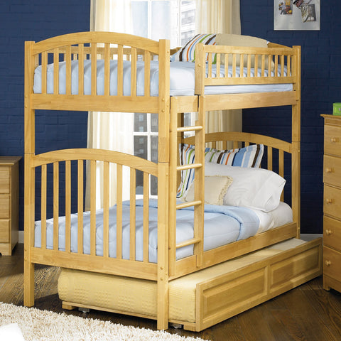 Richmond Twin over Twin Bunk Bed in Natural Maple w/ Trundle