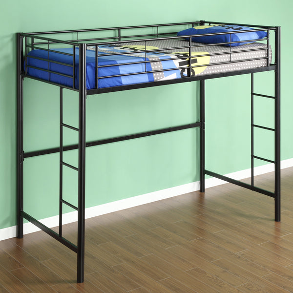 WE Twin Metal Loft Bed in Black