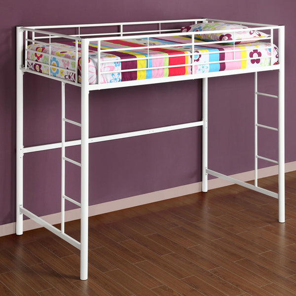 WE Twin Metal Loft Bed in White
