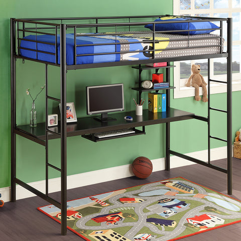 WE Twin Metal Workstation Loft in Black