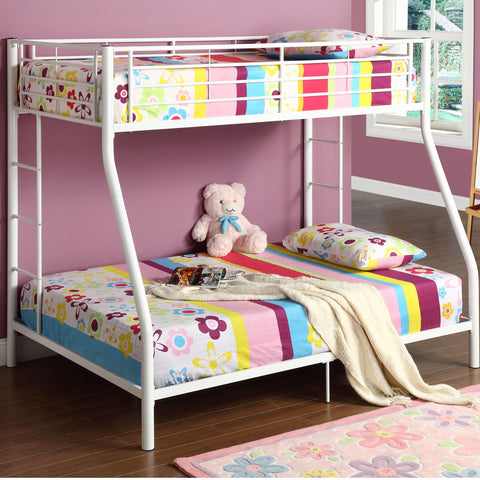 WE Twin over Full Metal Bunk Bed in White