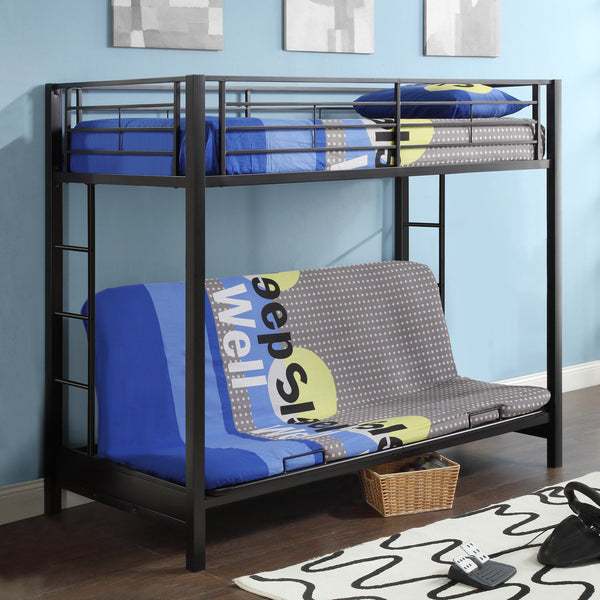 WE Twin over Futon Metal Bunk Bed in Black