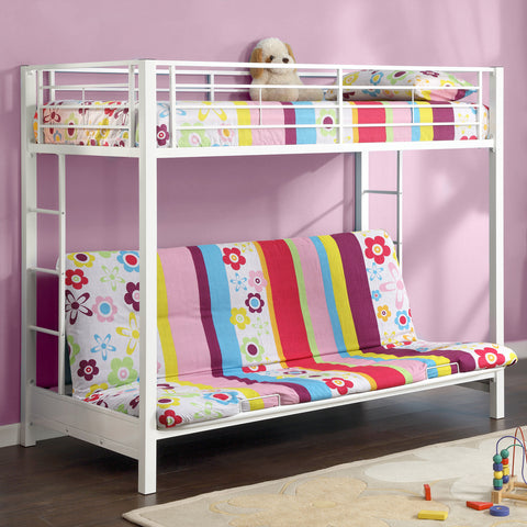 WE Twin over Futon Metal Bunk Bed in White