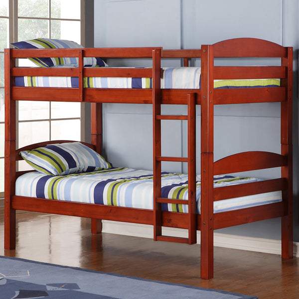 WE Twin over Twin Bunk Bed in Cherry