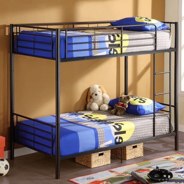 WE Twin over Twin Metal Bunk Bed in Black
